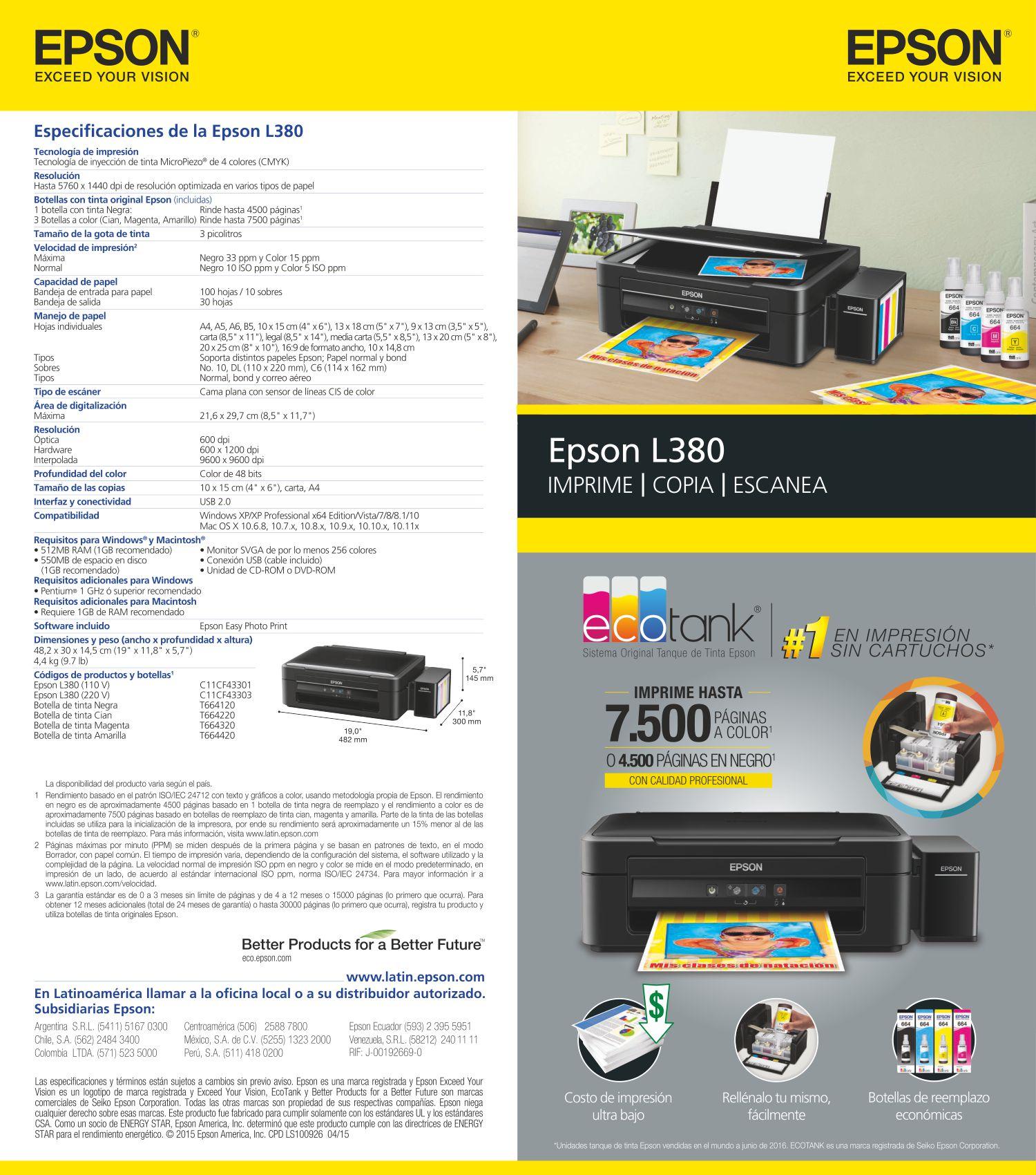Drivers - Controladores Impresora Multifuncional Epson L380